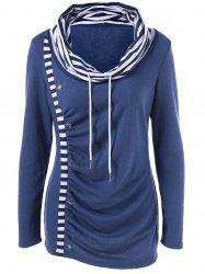 Cowl Neck Striped Trim Ruched T-Shirt - PURPLISH BLUE M
