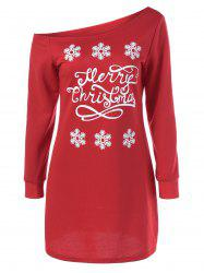 Skew Collar Snowflake Sweatshirt Dress - RED WITH WHITE M