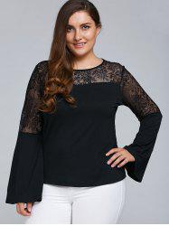 Plus Size Lace Trim Cut Out Blouse -