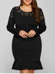 Plus Size Burnout Panel Long Sleeve Mermaid Prom Dress -