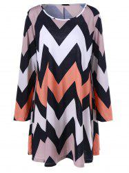Plus Size Chevron Print Long Sleeve Shift Dress