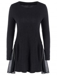 Side Zip Ribbed A Line Jumper Skater Dress -