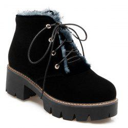 Chunky Heel Lace-Up Short Boots