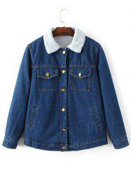 Fleece Lined Denim Jacket - BLUE