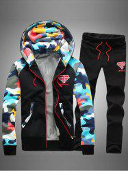 Camouflage Splicing Zip Up Flocking Hoodie and Pants Twinset -