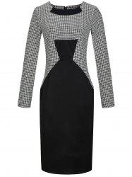 Houndstooth Print Long Sleeve Bodycon Dress -