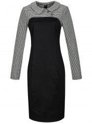 Houndstooth Long Sleeve Pencil Dress