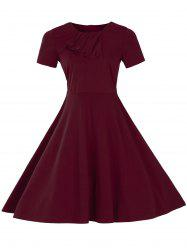 Vintage Short Sleeve Fit and Flare Pin Up Dress - BURGUNDY 3XL