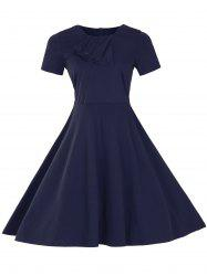 Vintage Short Sleeve Fit and Flare Pin Up Dress