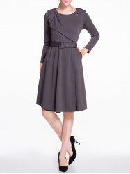Long Sleeves Knee Length Flare Dress