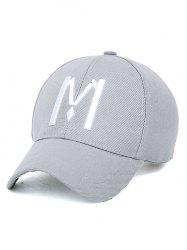 Embroidery Letter M Baseball Cap - LIGHT GRAY