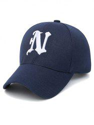 N Letter Embroidery Baseball Cap - PURPLISH BLUE