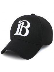 B Letter Embroidery Baseball Cap - BLACK