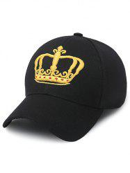 Crown Embroidery Baseball Cap - BLACK