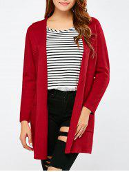 Open Front Pocket Hooded Cardigan -