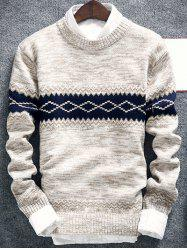 Geometric Pattern Space Dye Crew Neck Sweater - OFF-WHITE