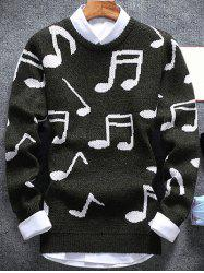 Music Note Pattern Crew Neck Sweater - ARMY GREEN