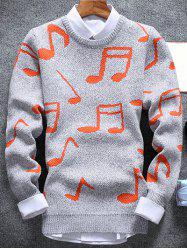 Music Note Pattern Crew Neck Sweater - LIGHT GRAY