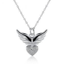 Heart Angel Wing Rhinestone Pendant Necklace - SILVER