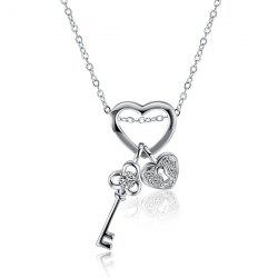 Heart Key Rhinestone Necklace - SILVER
