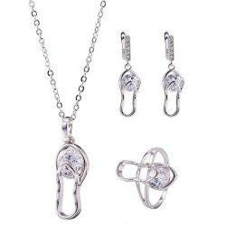Flip Flop Rhinestone Pendant Necklace Set -