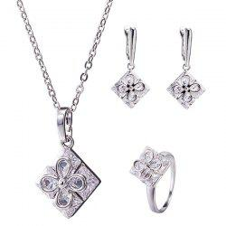 Rhinestone Square Clover Necklace Set