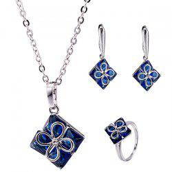 Embellished Clover Square Necklace Set