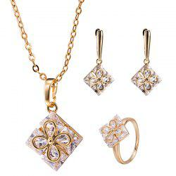 Ornate Clover Square Necklace Set - GOLDEN