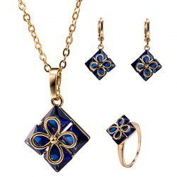 Rhinestone Clover Pendant Necklace Set - DEEP BLUE