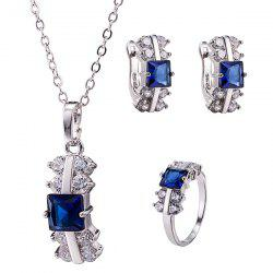Zircon Rectangle Necklace Set - DEEP BLUE