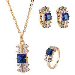 Rhinestone Rectangle Necklace Set