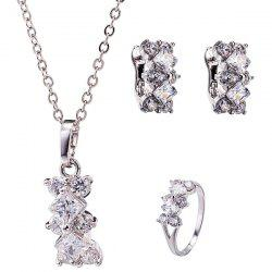 Rhinestone Rhombus Necklace Set - SILVER