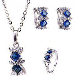 Elegant Rhinestone Rhombus Necklace Set - DEEP BLUE