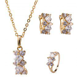 Ornate Rhinestone Rhombus Necklace Set - SILVER WHITE