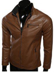 Rib Splicing Stand Collar Zip-Up PU-Leather Jacket