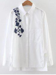 Embroidered Long Sleeve High Low Shirt -