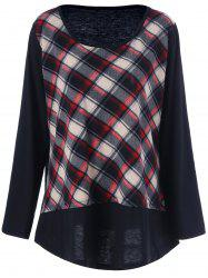 Plus Size Plaid Patchwork Tee - CHECKED