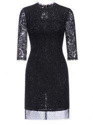 Hollow Out Fitted Lace Dress -