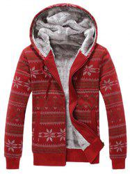 Snowflake Print Zip Up Flocking Hoodie