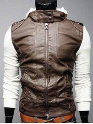 Zip Pocket Faux Leather Insert Hooded Jacket -