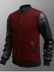 Side Pocket Snap Button Up PU Insert Jacket - BURGUNDY 3XL
