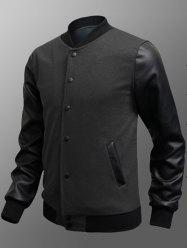 Side Pocket Snap Button Up PU Insert Jacket - DEEP GRAY L