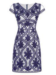 Cape Sleeve Embroidered Fitted Dress -