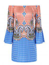 Bell Sleeve Colorful Patterned Bohemian Dress
