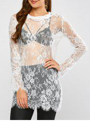 Lace Long Sleeve Sheer Tunic Cover-Up