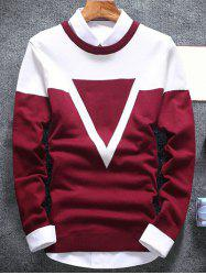 Inverted Triangle Crew Neck Flat Knitted Sweater