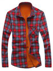 Turndown Collar Checked Print Flocking Shirt - RED 3XL