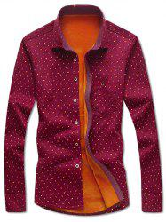Turndown Collar Moustache and Tobacco Pipe Print Flocking Shirt