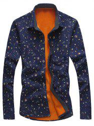 Turndown Collar Tiny Floral Print Flocking Shirt