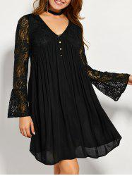 Lace Panel Long Sleeve A Line Tunic Dress - BLACK